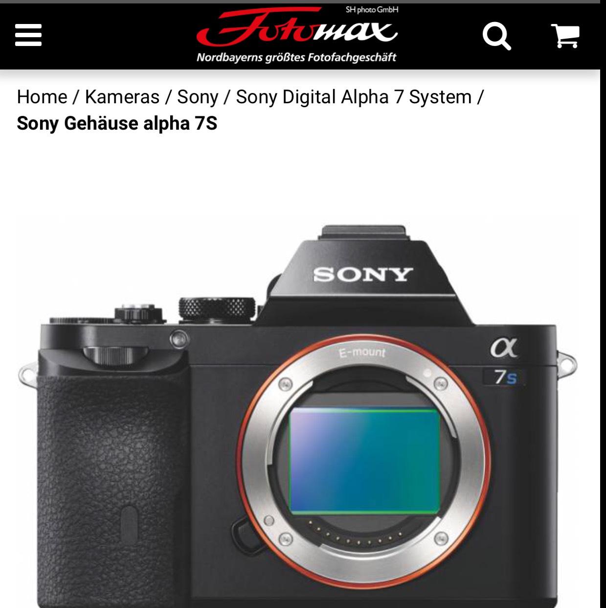 Sony alpha 7s für €1599 (Amazon fast 300€ teurer) online und offline Angebot