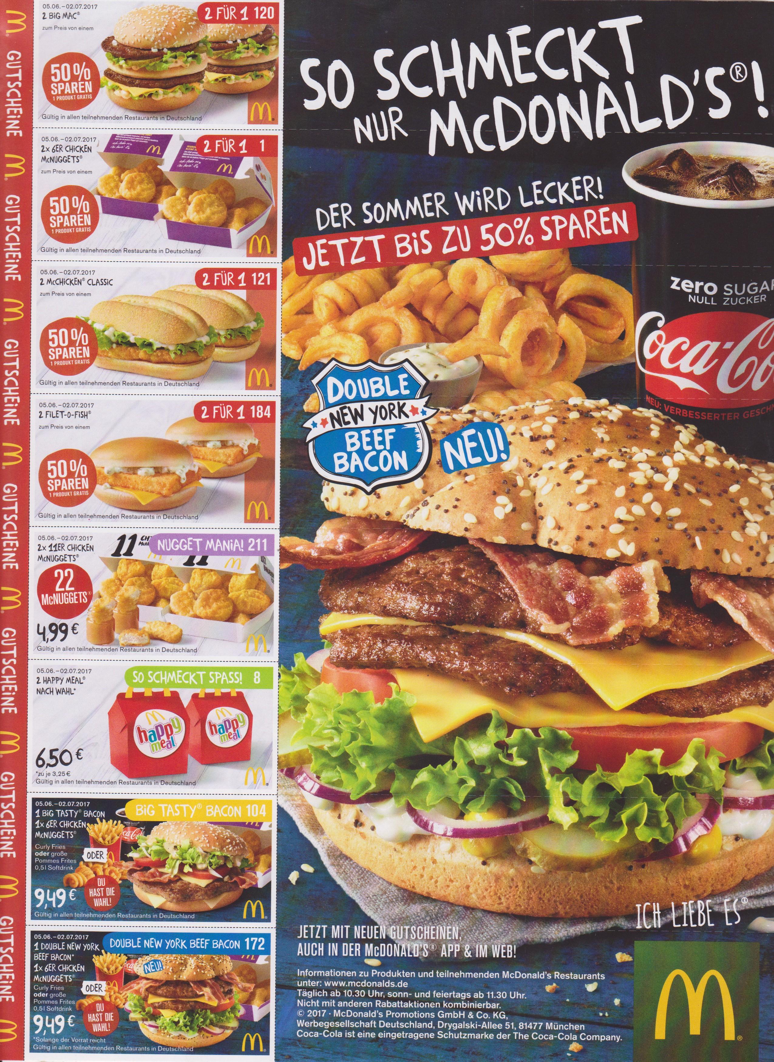 McDonalds Gutscheine bundesweit! Ab 05.06.
