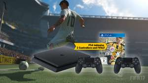 PlayStation 4 500 GB black Slim + 2ter Contr. + FIFA 17 Bund
