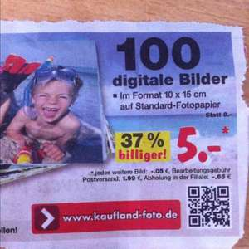 100 Fotoabzüge bei Kaufland-Fotos für 5,65 €