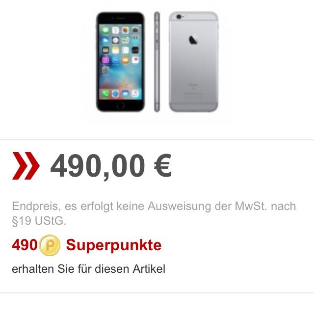 Apple IPhone 6s Spacegrau 32 GB bei Rakuten