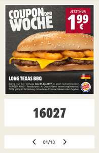 [Burger King - App] Long Texas BBQ für 1,99€