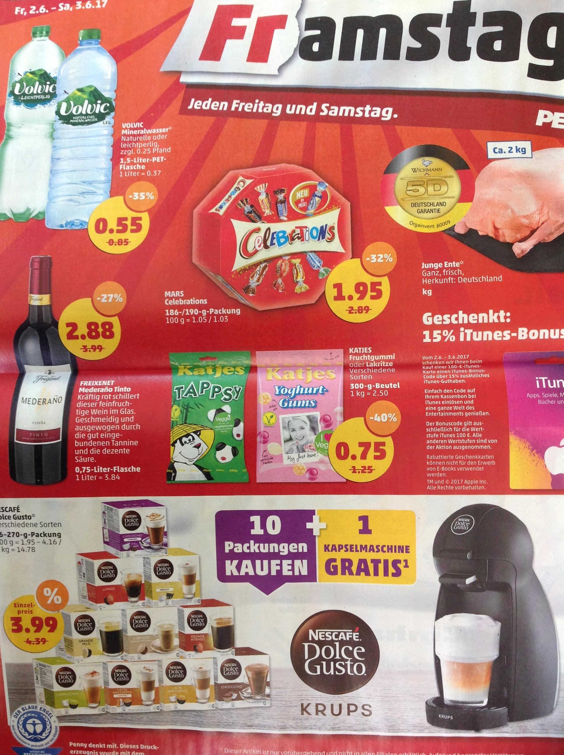 Bei Penny Für 39,90 Nescafé Dolce Gusto kaufen und eine passende Kaffeekappselmaschine Gratis am 2.6-3.6.17
