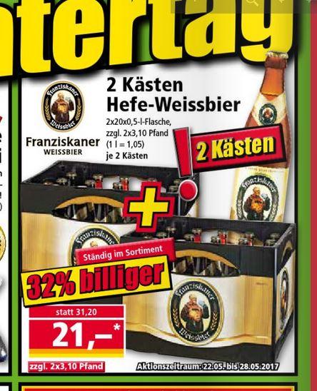 [Norma] 2 Kisten Franziskaner Weissbier versch. Sorten 21€ zzgl. Pfand