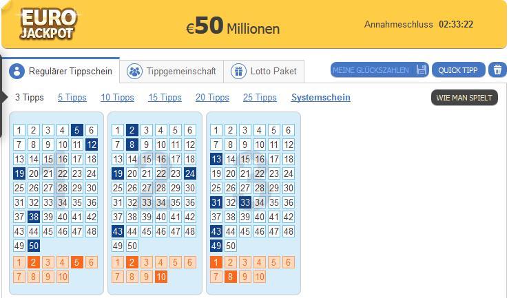 3 Tipps EuroJackpot für 2,77€ statt 8,40€