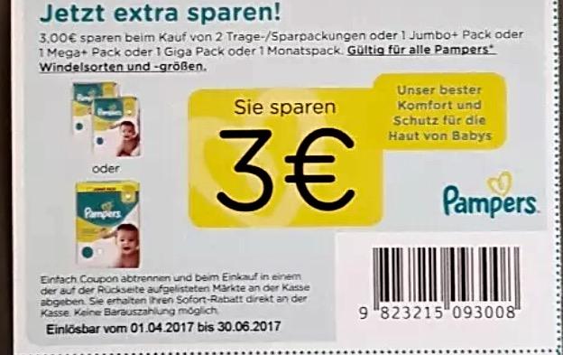 3€ Pampers Coupon für alle Pamperssorten und Größen - Gültig vom 1.4.17-30.6.17