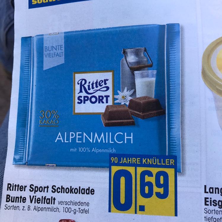 Ab 29.05 bei Edeka Rittersport 100g für 0,69€