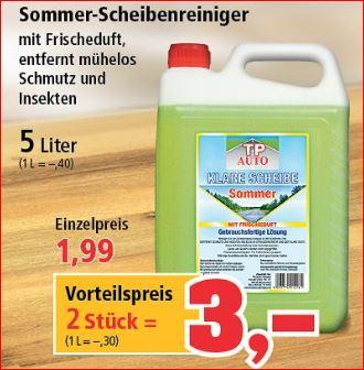 [Thomas Philipps] Sommer-Scheibenreiniger 10 Liter (2 x 5 Liter Kanister) für 3,00 Euro