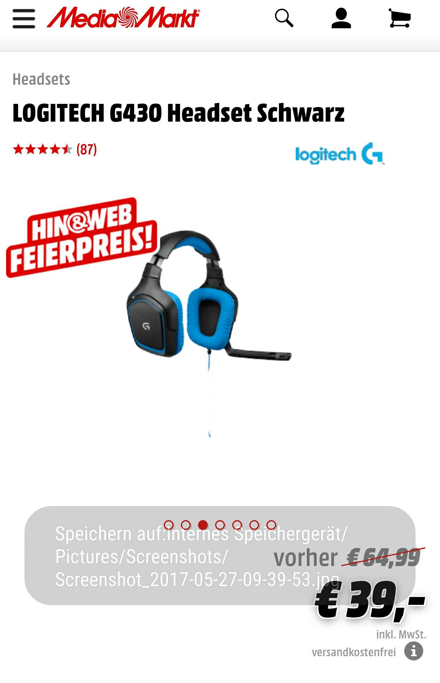 Logitech G430 Gaming-Headset 7.1 nur 39€ inkl. Versand MM online