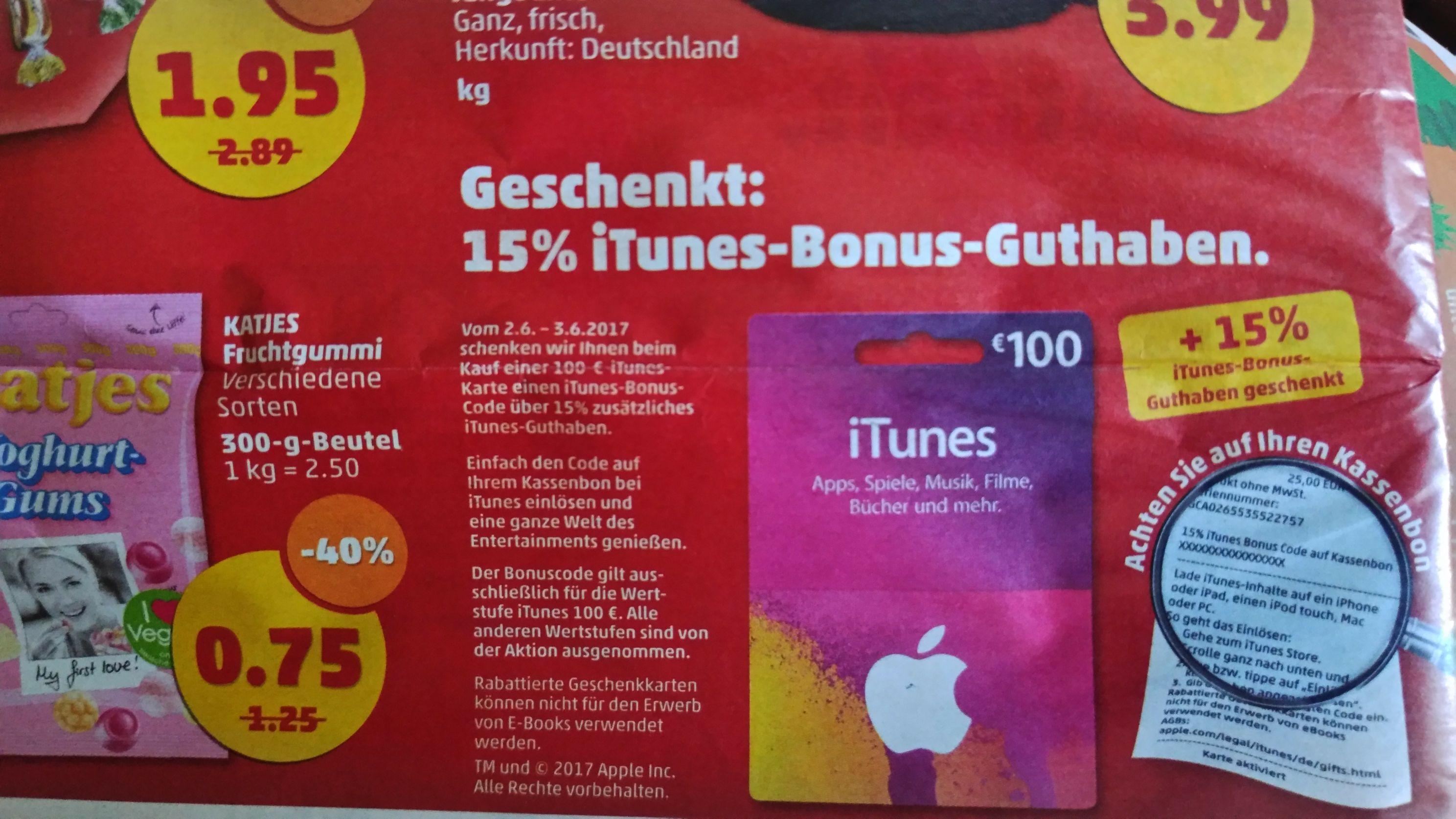 15% zusätzliches iTunes-Guthaben bei Kauf einer 100€—iTunes-Karte [Penny]