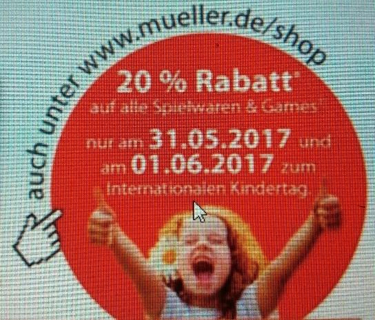 20% Rabatt auf alle Spielwaren und Games bei Müller zum Internationalen Kindertag [31.5. und 01.06.2017]
