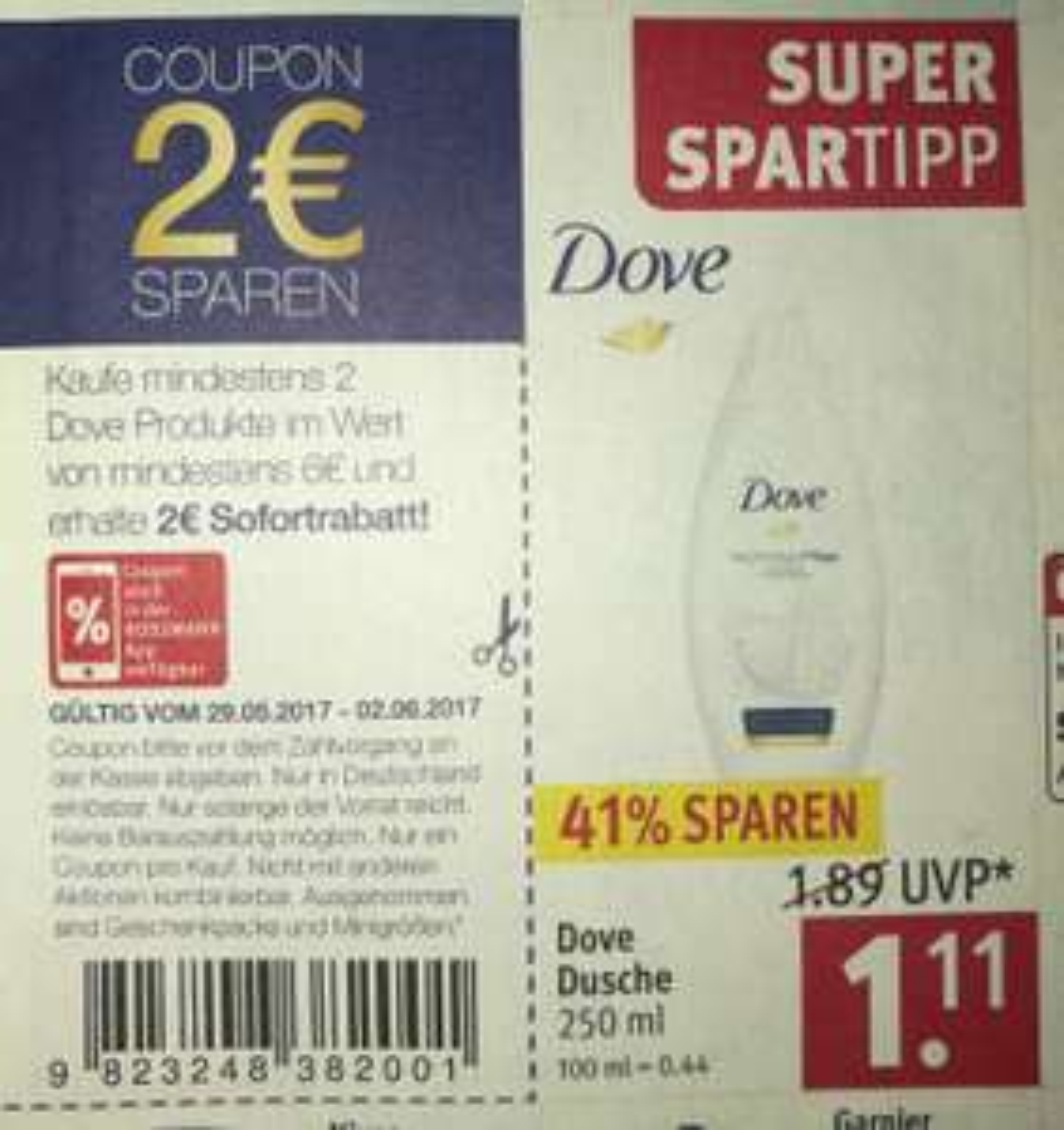 Dove Dusche (Rossmann) 77 cent/70 cent