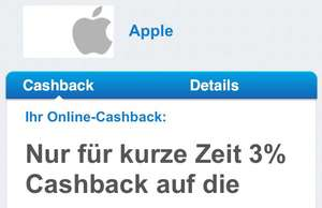 [DKB Cashback] Apple 3% nur für kurze Zeit