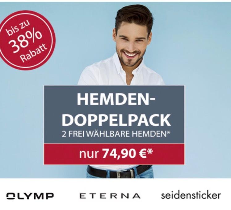 Hemden.de Doppelpack Aktion: 2 Hemden für für 74,90€ (Eterna Olymp Seidensticker)
