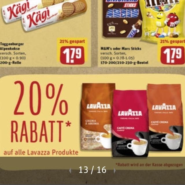Rewe 20% auf lavazza Kaffee Bohnen etc