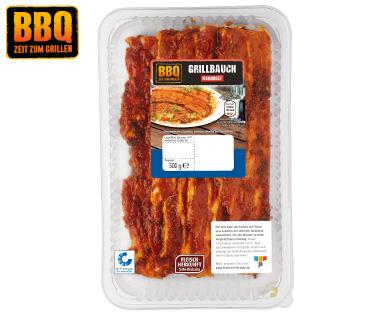 500 Gramm Packung BBQ Grillbauchscheiben für 1,99  bzw.  3,98 € / KG
