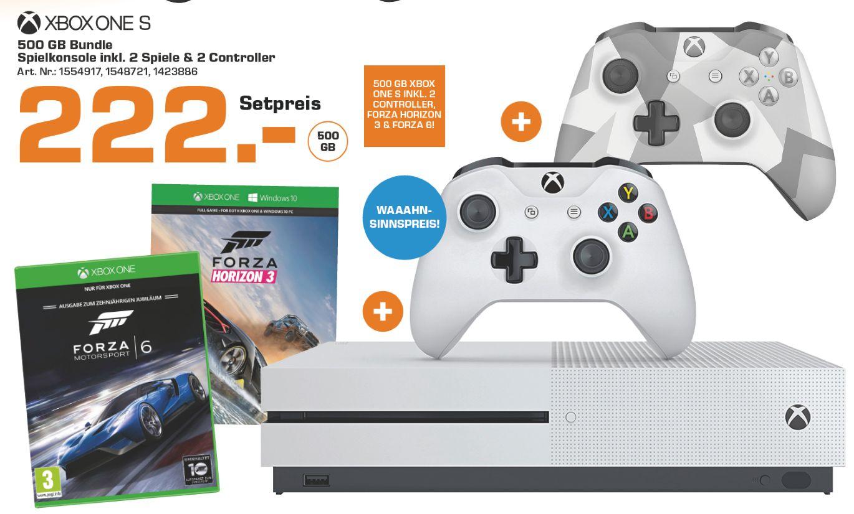 [Lokal Saturn Donau-Zentrum Wien-Österreich] Microsoft Xbox One S 500GB + Forza Horizon 3 + Forza Motorsport 6  + 2.Controller  (Winter Forces) für 222,-€