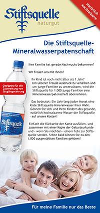 [LOKAL] Mineralwasserpatenschaft von Stiftsquelle für Kinder unter 1 Jahr  - 12 Kisten im Jahr / 1 pro Monat
