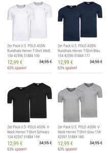 2x U.S. POLO ASSN. Round Neck & V Neck T-Shirts in verschied. Farben @outlet46