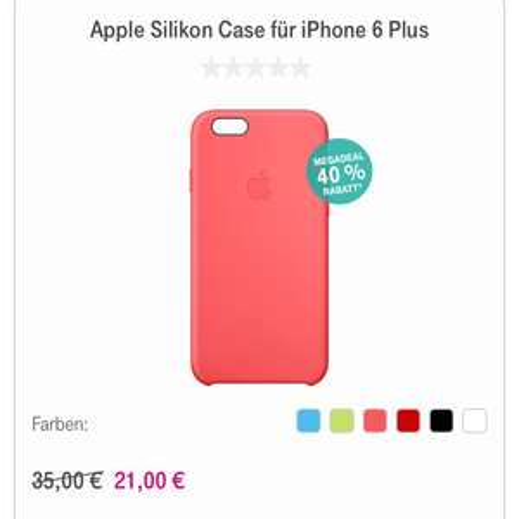 40% Rabatt auf Apple Silikon- und Ledercase iPhone 6 Plus / 6s Plus im Telekom Shop
