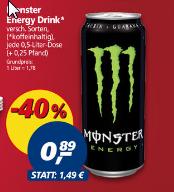 monster energy ver. Sorten für 0,89 Cent  @ Real