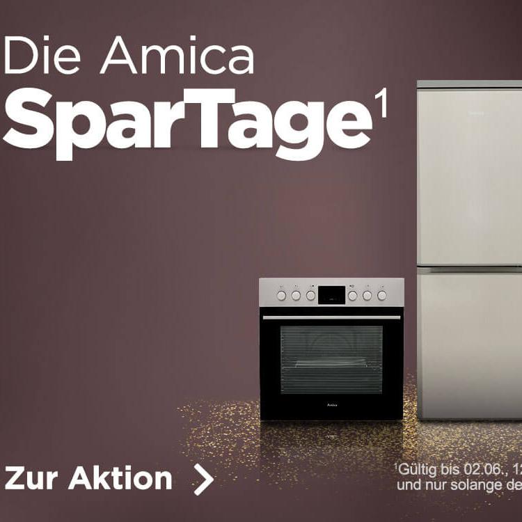Amica SparTage bei ao - z.B. kleiner Kühlschrank für 149 € oder Einbauherdset (mit Backofen und Ceran Kochfeld) für 329 €