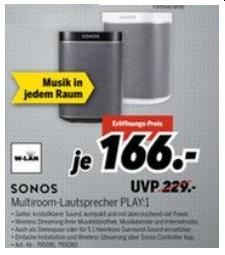 (Lokal) Sonos Play 1 Schwarz o. Weiß 166,- €, Medimax Waldshut-Tiengen
