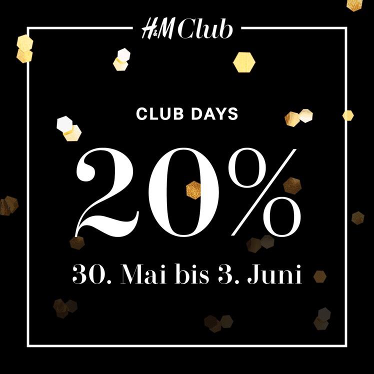Nur noch Heute! 20% Rabatt + gratis Versand für H&M Club Mitglieder