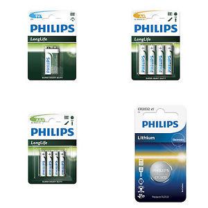 10x Pack Philips Batterien - verschiedene Sorten - CR2032 / 9V Block / AA @ebay 4,99€
