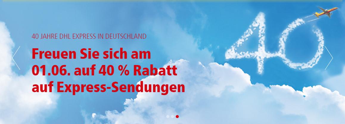 40% Rabatt auf DHL Express-Sendungen am 01.06