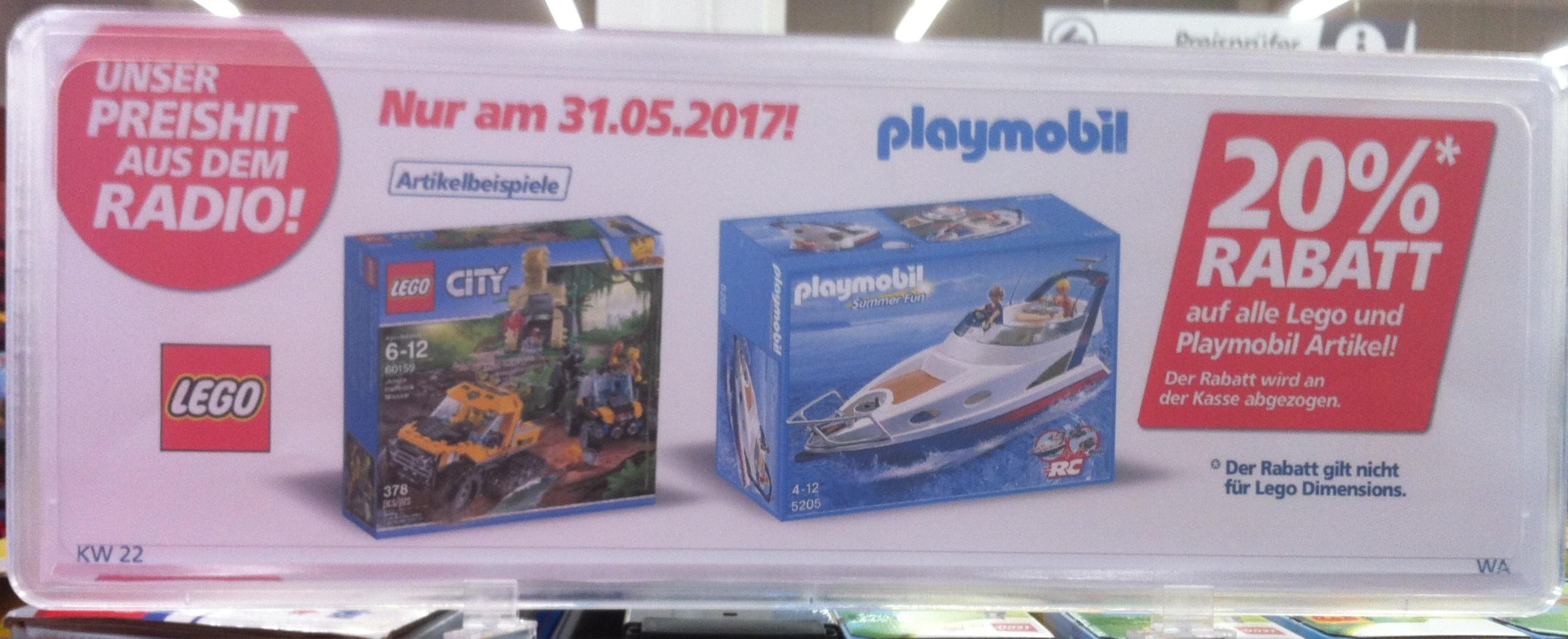 [real, on- und offline] 20% Rabatt auf Lego und Playmobil am 31.5.
