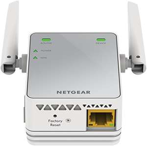 Netgear EX2700-100PES N300 WLAN Repeater 300 Mbit/s, 2,4 GHz, 1x Fast-Ethernet Port, WPA und universell kompatibel mit jedem Router/Modem weiß/grau, als Warehouse Deal ab 14,23 Euro (Amazon Prime)