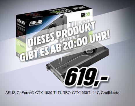 [Mediamarkt Österreich ab 20.00 Uhr] ASUS Turbo GeForce GTX 1080 Ti, TURBO-GTX1080TI-11G, 11GB GDDR5X, DVI, 2x HDMI, 2x DisplayPort für 619,-€ inc. Versand nach Deutschland