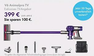 Dyson v6 Animalpro+ mit Zubehör& Tasche für 399€ mit CB: 327,18 €
