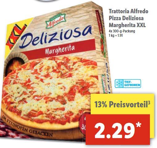 4x Alfredo Margherita Pizza für 2,29€ (57 Cent pro Pizza) vom 8.6-10.6 [Lidl]