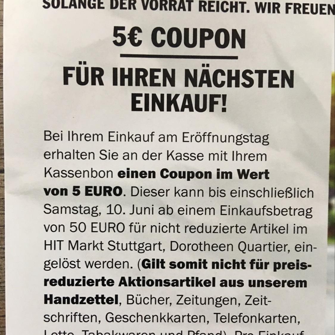 [LOKAL Stuttgart] 5€ Rabatt ab 50€ Einkaufswert im HIT Markt Dorotheenquartier (U Rathaus)