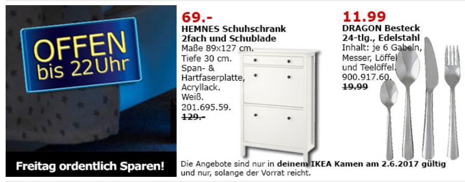 [Lokal - Ikea Kamen] Tagesangebot am 2.6 Hemnes Schuhschrank für 69€ und Dragon Besteck 24-tlg. für 11,99€ + Restaurantaktion