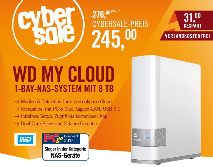 WD My Cloud NAS System 1-Bay 8TB USB 3.0 für 245€ bei Cyberport