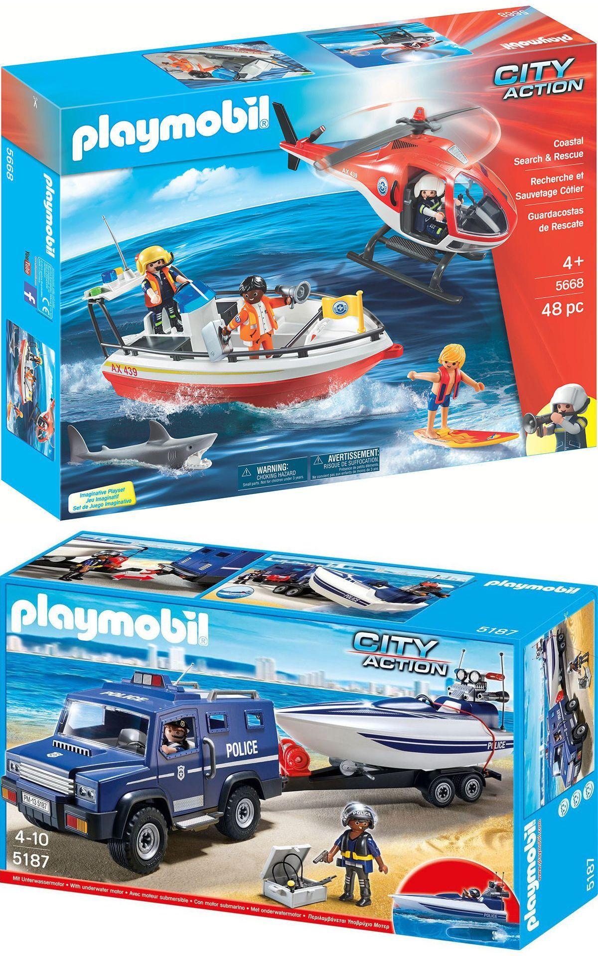 Playmobil™ - Polizei-Truck mit Speedboot inkl. Motor (5187) & Küstenwache (5668) ab €42,52 [@Karstadt.de]