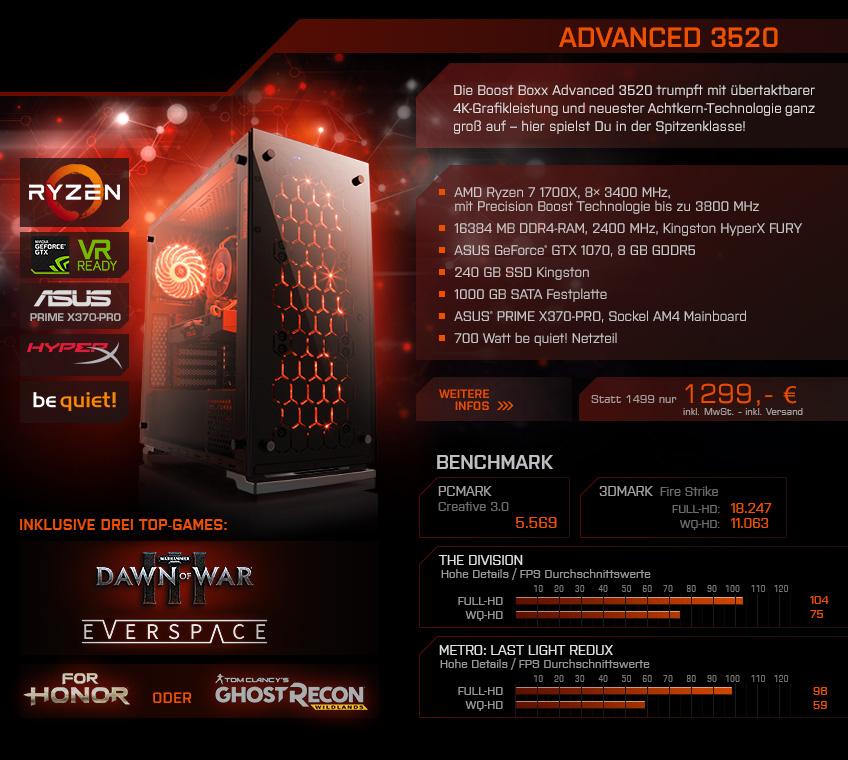 Ryzen Komplett PC mit GTX 1060 / 1070, Intel-Killer ab 699€ (CSL Computer)