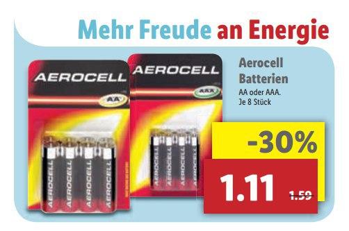 [Lidl ab 6.6.] 8x AAA oder AA Batterien für 1,11€