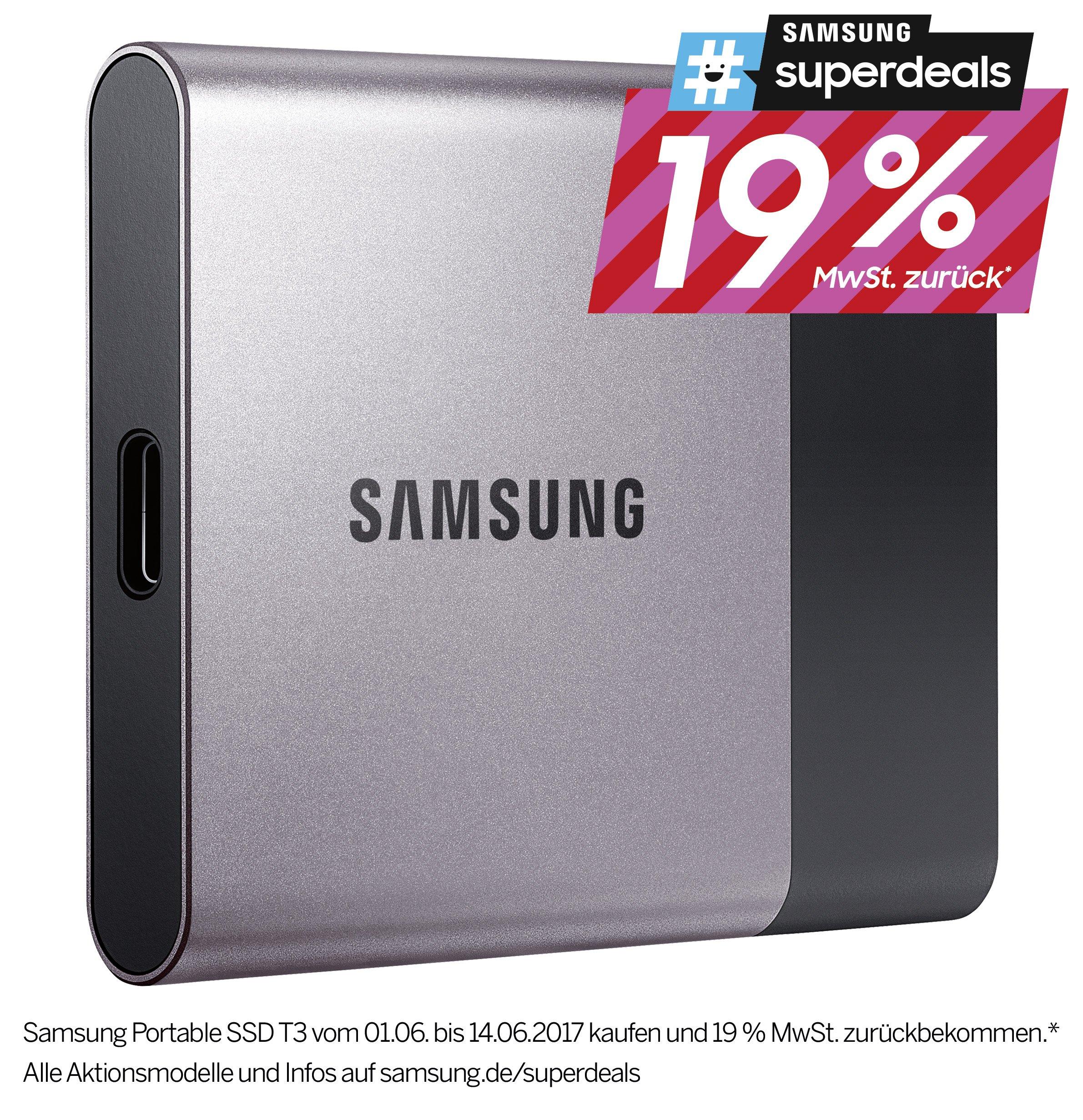 Samsung T3 Portable SSD 250GB - abzügl.. 19% CashBack Aktion von Samsung