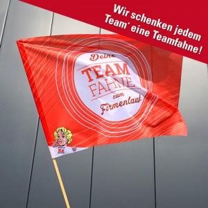 individuell bedruckte Teamfahne 140 x 100 cm für Leipziger Firmenlauf (Selbstabholung bei Maxxprint oder beim Lauf)