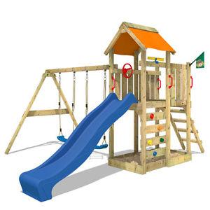 WICKEY MultiFlyer Spielturm Doppelschaukel Sandkasten Holz Kletterturm Garten für 319,96€ mit dem 20%-Gutschein