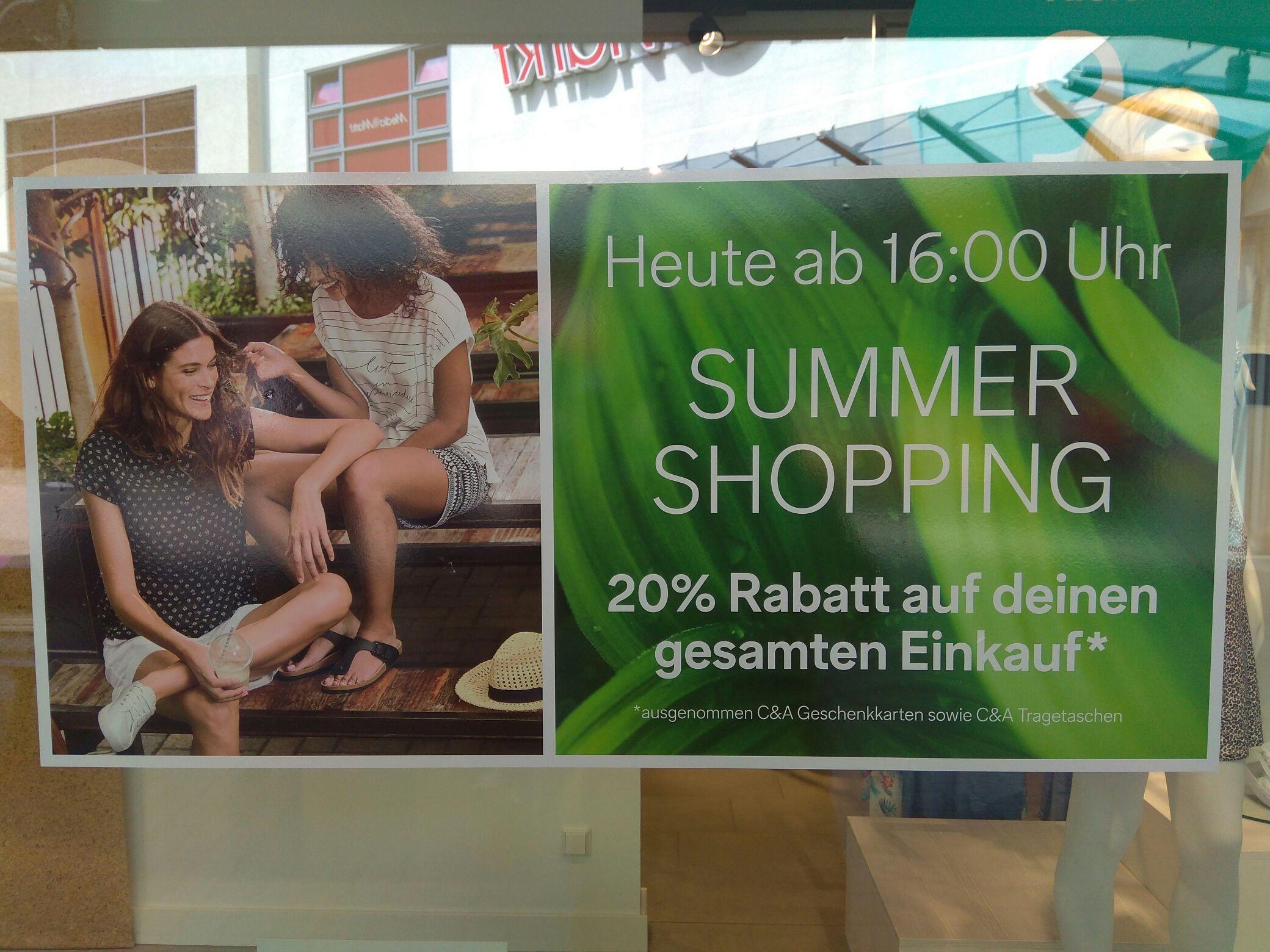 C&A MTZ Summer Shopping 20% Rabatt auf alles außer Gutscheinkarten und Tragetaschen