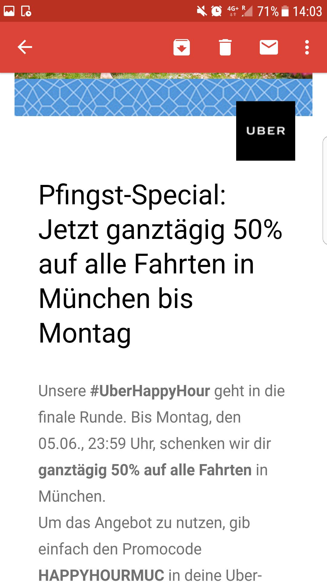 [München] 50% auf Fahrten mit Uber bis inkl. Montag
