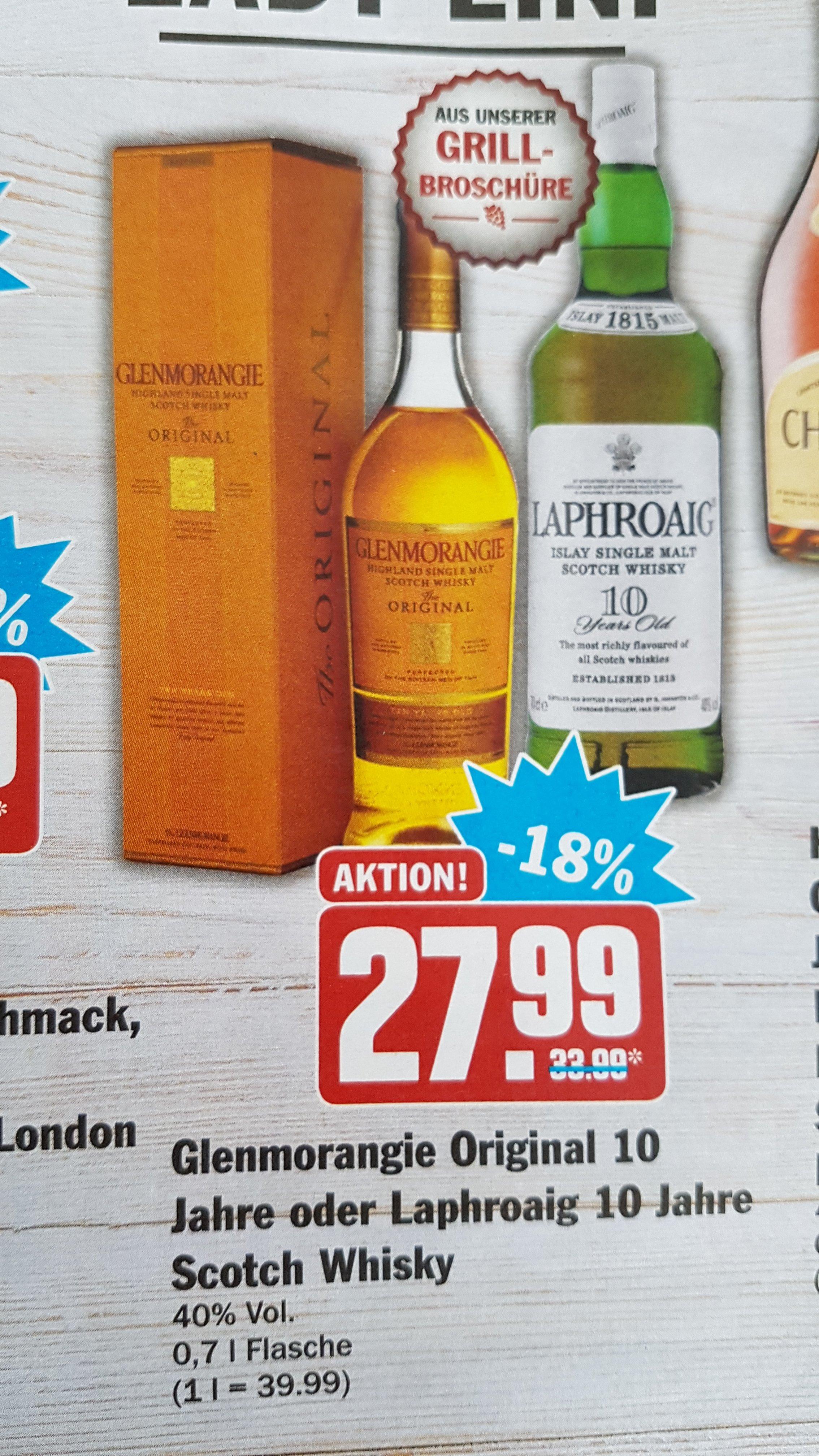 [HIT bundesweit] Glenmorangie Original 10 Jahre 0,7l und Laphroaig 10 Jahre 0,7l (Single Malt Whisky/Whiskey)