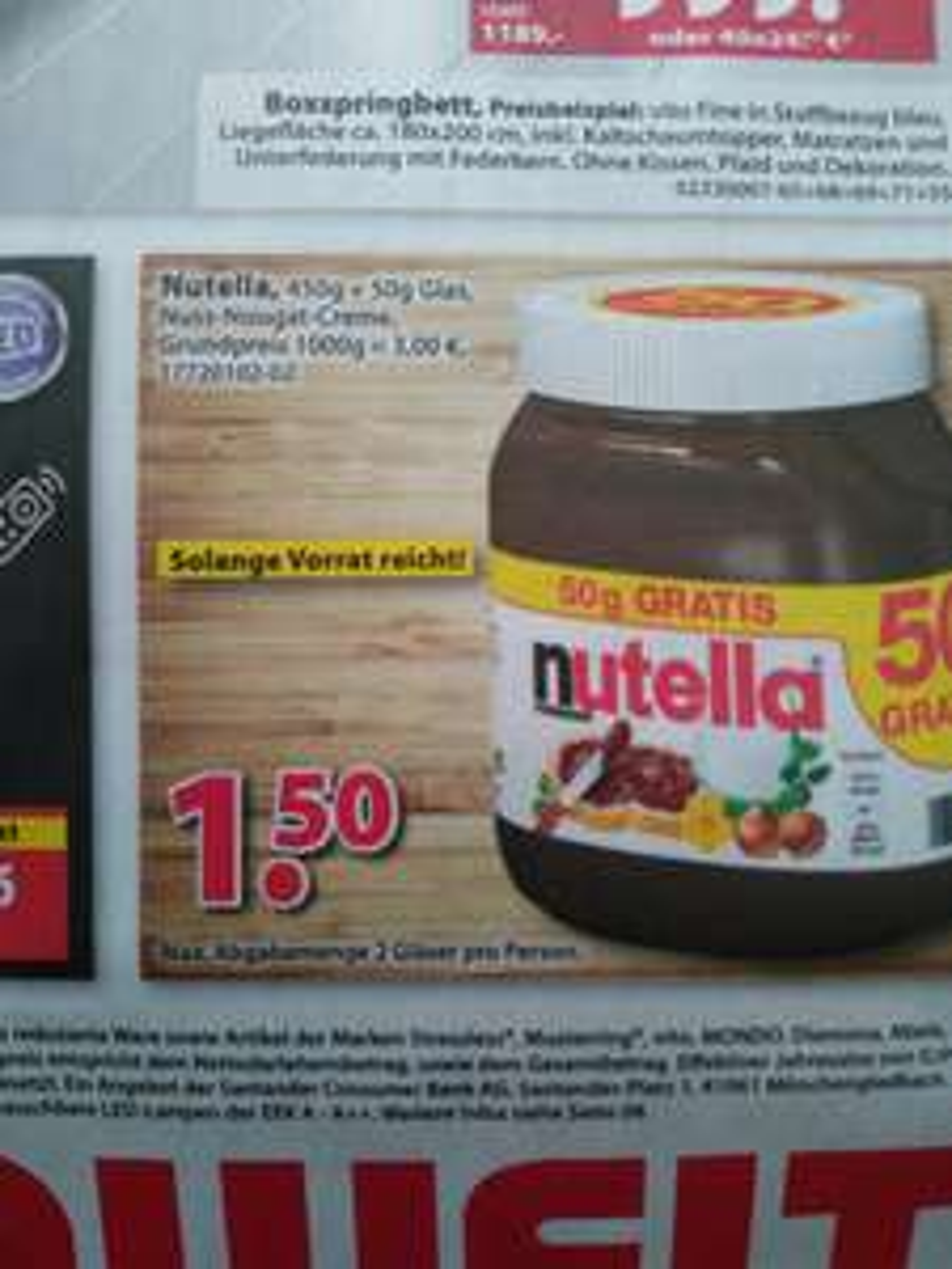 [Lokal Wohnwelt Dutenhofen] Nutella 500g für 1,50€