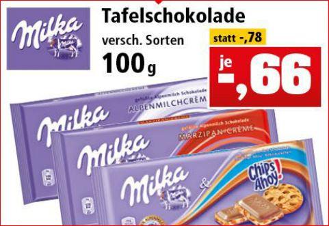 [Thomas Philipps] Milka Schokolade, verschiedene Sorten,  100g Tafel für 66 Cent