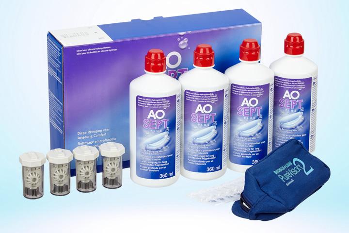 Aosept Plus Vorratspack 4x 360ml + Bio True Ampullen + Tasche @Linsenstudio.de